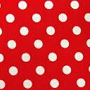 ★ 1.5m以内はメール便選択可 ★ ドット柄・水玉柄のブロード生地 <色:赤> 水玉の大きさ:小(直径約7mm) 1774・7-17 【ドット】【水玉】【ハロウィン】 ※価格は、10cmあたりの価格