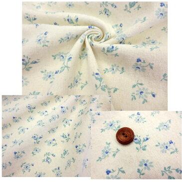 ★YUWAハーフリネン・スラブ洗い花柄(単位10cm)