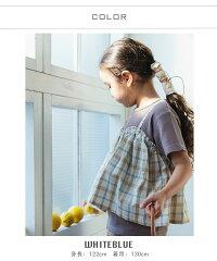 【さらサーマル】【リンクアイテム】ワッフルレイヤードキャミソール半袖Tシャツサーマル異素材花柄ドットチェック重ね着風ガールズトップス