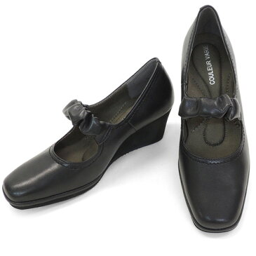 クロールバリエ パンプス 歩きやすい ウエッジソール & 甲ストラップ レディース 女性用 スムースブラック 超軽い 脚長 5.5cmヒール ブランド クロールバリエ COULEUR VARIE No.620