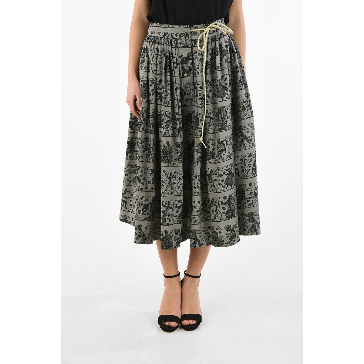 ボトムス, スカート VIVIENNE WESTWOOD Gray WORLDS END Printed Cotton NOSTALGIA Flare Skirt dk