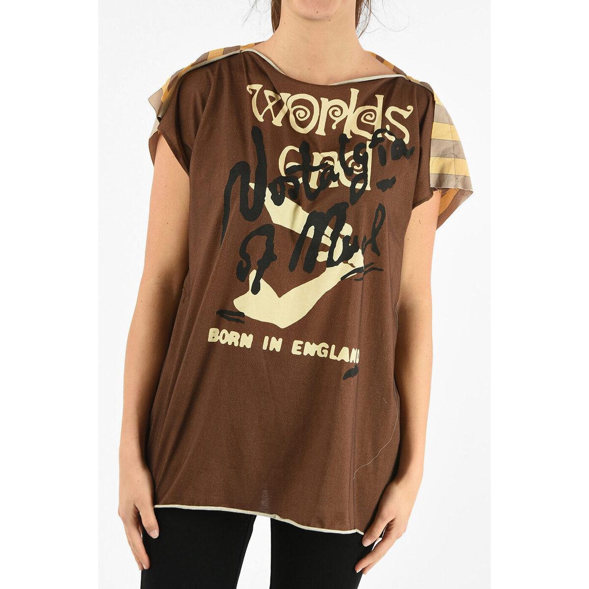 トップス, Tシャツ・カットソー VIVIENNE WESTWOOD Brown WORLDS END Unstructured SQUARE t-shirt dk
