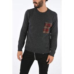 DSQUARED2 ディースクエアード Gray ニットウェア メンズ Wool Tartan Pocket Crew-Neck Sweater 【関税・送料無料】【ラッピング無料】 dk