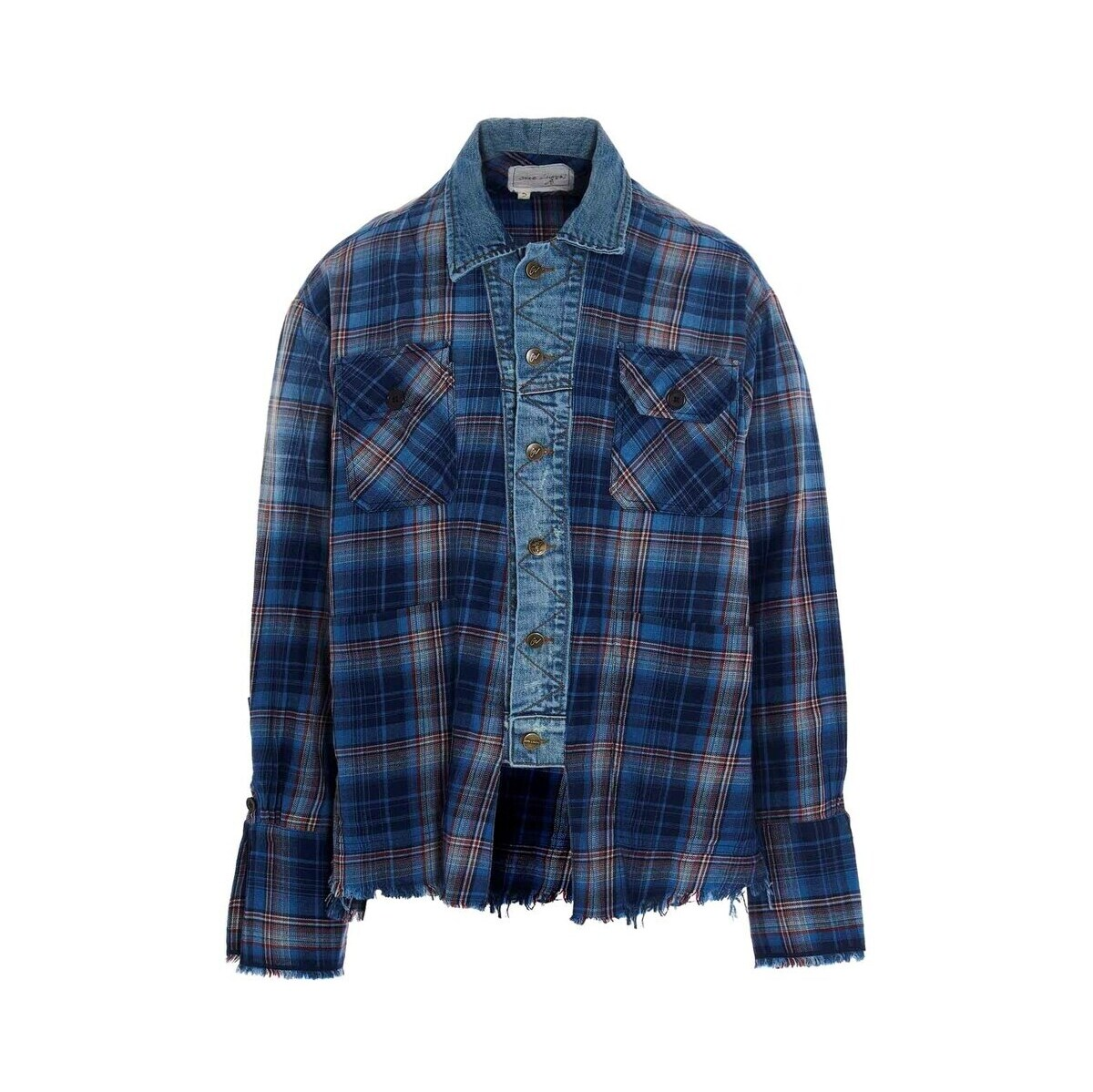 トップス, カジュアルシャツ GREG LAUREN Multicolor Agoura Trucker Front Boxy Studio overshirt 2021 BM110BLUEPLAID ju