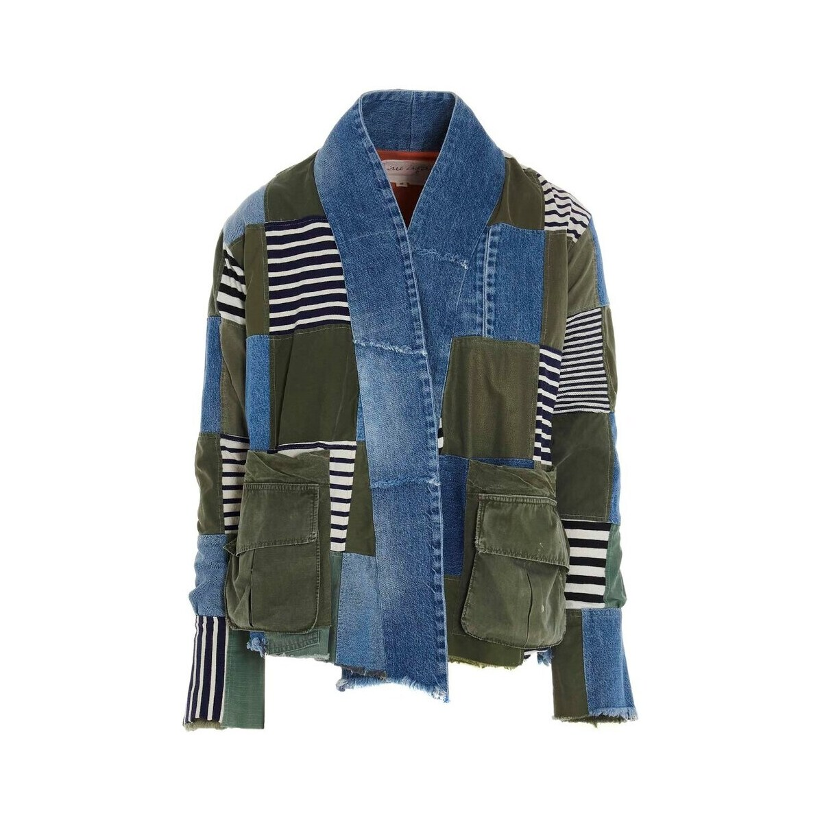メンズファッション, コート・ジャケット GREG LAUREN Multicolor ArmyDenim Striped Scrapwork blazer jacket 2021 BM130ARMYBLUE ju