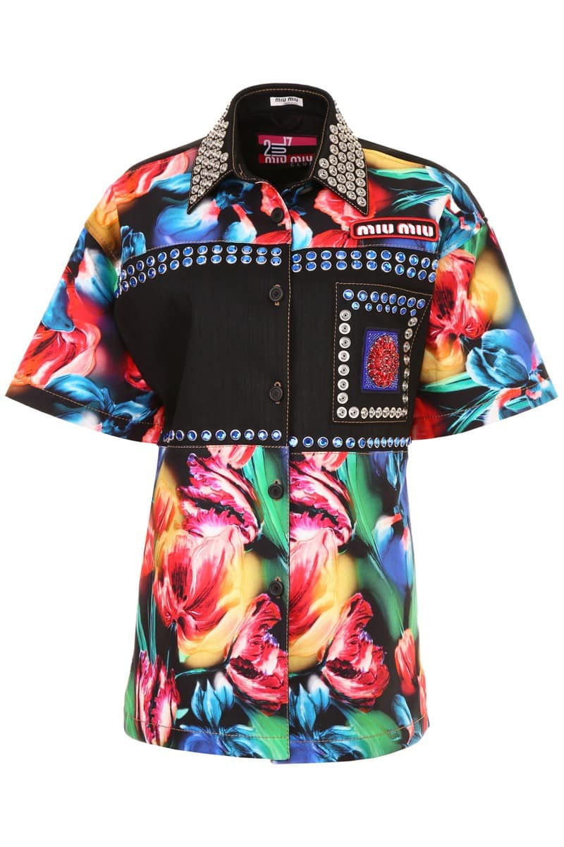 MIU MIU/ミュウ ミュウ デニムシャツ NERO Miu miu floral stretch denim shirt レディース 春夏2018 MK1267 1QXJ ik