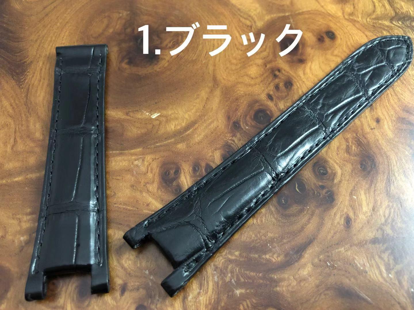 期間限定価格 CousuMain 20mm-18mm★(クロコダイル)アリゲーター両面 cartier パシャ38mm Dバックル用(カルティエ パシャ)向 裏面同色アリゲーター