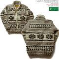カウチンセーター(カウチンジャケット)|CanadianSweaterCompany(カナディアン・セーター・カンパニー)・カナダ製|DEER(ディア)|ライトグレイ|ウール100%(ヘリテージヤーン)|フルオープン|ジップアップ(two-wayZipper)|長袖