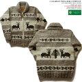 カウチンセーター(カウチンジャケット)|CanadianSweaterCompany(カナディアン・セーター・カンパニー)・カナダ製|DEER(ディア)|グレイ|ウール100%(ヘリテージヤーン)|フルオープン|ジップアップ(two-wayZipper)|長袖