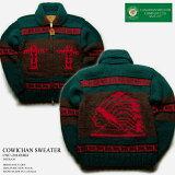 カナディアンセーター|カウチンセーター|Canadian Sweater Company(カナディアン セーター カンパニー)カナダ製|CSC-1014erd INDIAN(インディアン)|グリーン|メンズ|ウール100%(ヘリテージヤーン)|フルオープン|ジップアップ(two-way Zipper)|長袖