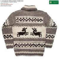 カナディアンセーター|カウチンセーター(ジャケット)|CanadianSweaterCompany(カナディアンセーターカンパニー)・カナダ製|CSC-1034JUMPINGDEER(ジャンピングディア)|グレイ|メンズ|ウール100%(ヘリテージヤーン)|フルオープン|ジップアップ|長袖