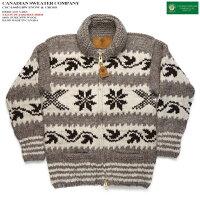 カナディアンセーター|カウチンセーター(ジャケット)|CanadianSweaterCompany(カナディアンセーターカンパニー)・カナダ製|CSC-1045SNOW&CROSS(スノーアンドクロス)|グレイ|メンズ|ウール100%(ヘリテージヤーン)|フルオープン|ジップアップ|長袖