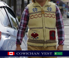 カナディアンセーター カウチンセーター(ベスト) カナディアンセーターカンパニー カナダ製 AMERICANCOUNTRYTAPESTRYVEST(アメリカンカントリータペストリー) ナチュラル メンズ ウール100% フルオープン ジップアップ ノースリーブ