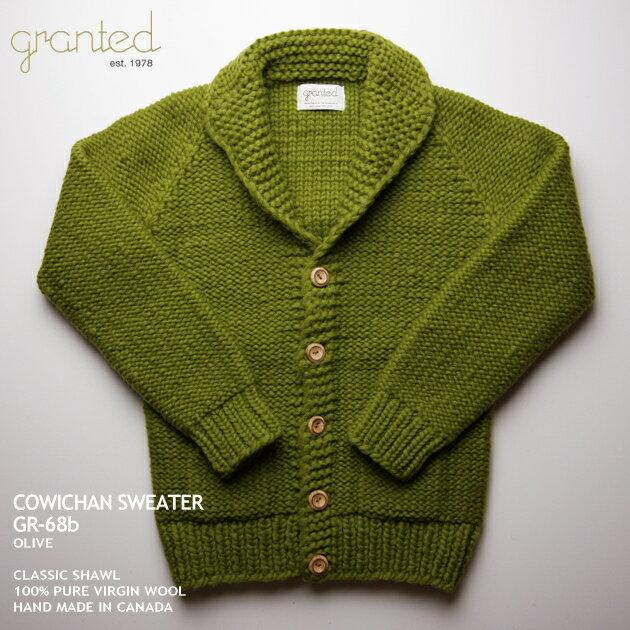 グランテッド granted カウチンセーター カナダ製 GR-68b Classic Shawl (Reverse Knit) クラシック・ショール(リバース・ニット) オリーブ メンズ ウール100%(100% pure new wool) ウッドボタン・フルオープン 長袖【XSサイズ】:カウチンファミリー+アロハシャツ