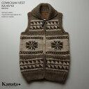 カウチンセーター(カウチンベスト)|KANATA社(カナタ)・カナダ製|KA-KV10 VINTAGE SNOW(ヴィンテージ・スノー)|ブラウン|ウー…