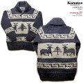 Kanataカウチンセーター|カナタ社・カナダ製|KA10003zDEER(鹿)|デニム|メンズ|ウール100%(ピュアヴァージンウール)|フルオープン|YKK製シングル・ジップアップ(YKKZipper)|長袖
