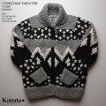 KANATAカウチンセーター カナダ製 KA41688NORDICSWEATER(ノルディク・セーター) グレイ メンズ ウール100%(Wool100%) 6PLYWOOL(6本撚り) フルオープン TALON2WAY[S](TALON製ジップアップ)) 長袖