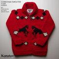 KANATAカウチンセーター カナダ製 KA41689HORSESSWEATER(ホース・セーター) レッド メンズ ウール100%(Wool100%) 6PLYWOOL(6本撚り) フルオープン TALON2WAY[S](TALON製ジップアップ)) 長袖