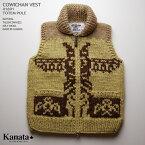 Kanata カウチンセーター(カウチンベスト)|カナタ社・カナダ製|KA41691 TOTEM POLE VEST(トーテム・ポール・ベスト)|ナチュラル|メンズ|ウール100%(Wool100%)|6PLY WOOL(6本撚り)|フルオープン|TALON 2WAY[S](ジップアップ)|ノースリーブ 10P03Sep16