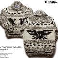 KANATAカウチンセーター カナダ製 KA41690lDOUBLEEAGLESWEATER(ダブル・イーグル・セーター) ホワイト メンズ ウール100%(Wool100%) 6PLYWOOL(6本撚り) フルオープン TALON2WAY[S](TALON製ジップアップ)) 長袖