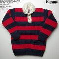 KANATAカウチンセーター カナダ製 KV164RUGBYSWEATER(ラグビー・セーター) ネイビー/レッド(ボーダー) メンズ ウール100%(Wool100%) 6PLYWOOL(6本撚り) プルオーバー MAPLE2BUTTON[S](2ボタン)メープルボタン 長袖