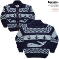 KANATAカウチンセーター|カナダ製|KV230BWHALEANCHORSWEATER(ホエール・アンカー・セーター)|ネイビー/ブルー|メンズ|ウール100%(Wool100%)|6PLYWOOL(6本撚り)|フルオープン|ボタン(メイプル柄)|長袖