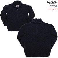 カウチンセーター(カウチンジャケット)|KANATA社(カナタ)・カナダ製|KA40998CABLESWEATER(ケーブル・セーター)|ネイビー|ウール100%(Wool100%)|6PLYWOOL(6本撚り)|フルオープン|TALON2WAY[S](TALON製ジップアップ))|長袖