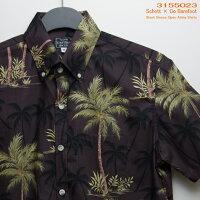 アロハシャツ|ショット(SCHOTT)SCH3155023|ショット別注デザインPALMTREE(パーム・ツリー)|ダーク・ブラウン|メンズ|コットン100%|ゴーベアフット(GOBAREFOOT)製|ボタンダウン|別注アロハシャツ|フルオープン|半袖|アロハタワー(アロハシャツ販売)