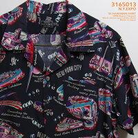 アロハシャツ|ショット(SCHOTT)SCH3165013|N.Y.EXPO(ニューヨークエクスポ)|ブラック|メンズ|レーヨン100%|開襟|フルオープン|半袖|アロハタワー(アロハシャツ販売)