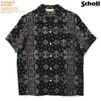 アロハシャツ|ショット(SCHOTT)SCH3175013|BANDANA(バンダナ)|ブラック|メンズ|レーヨン100%|開襟|フルオープン|半袖|アロハタワー(アロハシャツ販売)