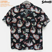 アロハシャツ ショット(SCHOTT)SCH3185004 NEWYORKCITY(ニューヨークシティ) ブラック メンズ レーヨン60%コットン40% 開襟 フルオープン 半袖 アロハタワー(アロハシャツ販売)