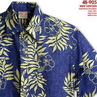 ゴーベアフット(GOBAREFOOT)|アロハシャツ|go-905MINITAHITIAN(ミニ・タヒチアン)|ロイヤル&ゴールド|コットン100%(Cotton100%)|裏地使い(ReversePrint)|ノーマル襟(レギュラーカラー)|フルオープン|半袖