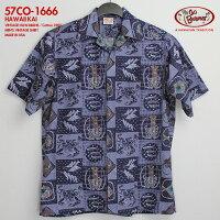ゴーベアフット(GOBAREFOOT)|アロハシャツ|go-co1666HAWAIIKAI(ハワイ・カイ)|デニム|コットン100%(Cotton100%)|開襟(オープンカラー)|フルオープン|半袖