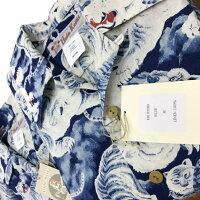 アロハシャツ|フラケイキハワイアン(HULAKEIKIHAWAIIAN)|HK-035ID百虎(HYAKUTORA)|ブルー|メンズ|リネン100%(linen100%)|開襟(オープンカラー)|フルオープン|半袖|アロハタワー(アロハシャツ販売)