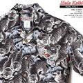 アロハシャツ|フラケイキハワイアン(HULAKEIKIHAWAIIAN)|HK-19007百虎2(HYAKUTORA)|ブラック|オーバープリント|メンズ|リネン100%(linen100%)|開襟(オープンカラー)|フルオープン|半袖|アロハタワー(アロハシャツ販売)
