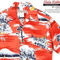 アロハシャツ|フラケイキハワイアン(HULAKEIKIHAWAIIAN)|マカナレイの姉妹ブランド|HK-19008オリエンタルハリウッド(OrientalHollywood)|レッド|メンズ|コットン60%レーヨン40%|開襟|フルオープン|半袖|アロハタワー(アロハシャツ販売)