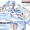 アロハシャツ|フラケイキハワイアン(HULAKEIKIHAWAIIAN)|マカナレイの姉妹ブランド|HK-19008オリエンタルハリウッド(OrientalHollywood)|サックス|メンズ|コットン60%レーヨン40%|開襟|フルオープン|半袖|アロハタワー(アロハシャツ販売)