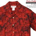 アロハシャツ|フラケイキハワイアン(HULAKEIKIHAWAIIAN)|マカナレイの姉妹ブランド|HK-19009百虎闇ジャガード(HundredtigersdarknessJacquard)|レッド|メンズ|コットン100%ジャガード|開襟|フルオープン|半袖|アロハタワー(アロハシャツ販売)