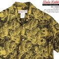 アロハシャツ|フラケイキハワイアン(HULAKEIKIHAWAIIAN)|マカナレイの姉妹ブランド|HK-19009百虎闇ジャガード(HundredtigersdarknessJacquard)|イエロー|メンズ|コットン100%ジャガード|開襟|フルオープン|半袖|アロハタワー(アロハシャツ販売)