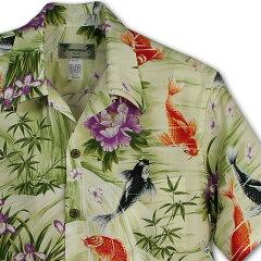 アロハシャツ|カメハメハ(KAMEHAMEHA)|kam-h 鯉 (koi)|グリーン|メンズ…