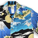 アロハシャツ・ララカイ(LALAKAI)|HL-066兎と富士|ブルー|メンズ|縮緬(ちりめん)シルク|薄手生地|半袖|アロハタワー(アロハシャツ販売)