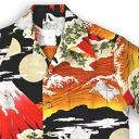 アロハシャツ・ララカイ(LALAKAI)|HL-066兎と富士|レッド|メンズ|縮緬(ちりめん)シルク|薄手生地|半袖|アロハタワー(アロハシャツ販売)