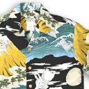 アロハシャツ・ララカイ(LALAKAI)|HL-066兎と富士|イエロー|メンズ|縮緬(ちりめん)シルク|薄手生地|半袖|アロハタワー(アロハシャツ販売)