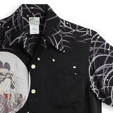 アロハシャツ ララカイ(LALAKAI)|マカナレイ(MAKANALEI)の姉妹ブランド|HL-051花魁と髑髏・ブラック|メンズ|縮緬(ちりめん)シルク|薄手生地|半袖|アロハタワー Aloha Shirt LALAKAI