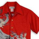 アロハシャツ マカナレイ(MAKANA LEI)|AMT-053N 波兎|レッド|メンズ|オリエンタルシルク|厚手生地|半袖|アロハタワー(アロハシャツ販売)