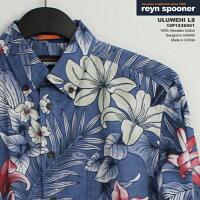 アロハシャツ|レインスプーナー(REYNSPOONER)|p153-6061ULUWEHI(ウルヴェヒ)|ブルー|コットン100%(HawaiianCotton100%)|カフスポケット(CuffsPockets)|プラケットフロント(表前立て)|裏地使い|ボタンダウン(BDCollar)|フルオープン|長袖