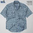 アロハシャツ|レインスプーナー(REYN SPOONER)|アロハシャツ|0127-1816 TAPA-STRY(タパ・ストリー)|ブルーヘイズ|コットン90% 麻10%|プラケットフロント(表前立て)|裏地使い|ボタンダウン(BD Collar)|半袖|アロハタワー(アロハシャツ販売)