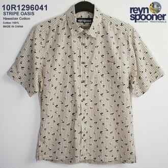 夏威夷襯衫|雷恩斯普納(REYNSPOONER)|0129-6041 STRIPE OASIS(條紋·綠洲)|天然的|棉布100%|purakettofuronto(表前襟)|袖口口袋(Cuffs Pockets)|正常的領子(Regular Collar)|短袖|夏威夷襯衫塔(夏威夷襯衫銷售)