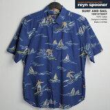 アロハシャツ|レインスプーナー(REYNSPOONER)|r127-6057 SURF AND SAIL(サーフ・アンド・セイル)|サーフ|コットン100%|プラケットフロント(表前立て)|ボタンダウン(BD Collar)|半袖|アロハタワー(アロハシャツ販売)