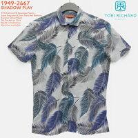 アロハシャツ|トリリチャード(TORIRICHARD)|tori-49-2667SHADOWPLAY(シャドープレイ)|ライトグレイ|メンズ|コットン97%スパンデックス3%(ストレッチ素材)|ノーマル襟|スリムフィット|フルオープン|半袖|アロハタワー(アロハシャツ販売)